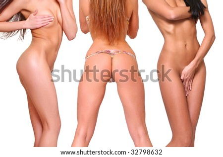 Three beautiful naked body poses covering itself hands, isolated on a white background, please see some of my other parts of a body images