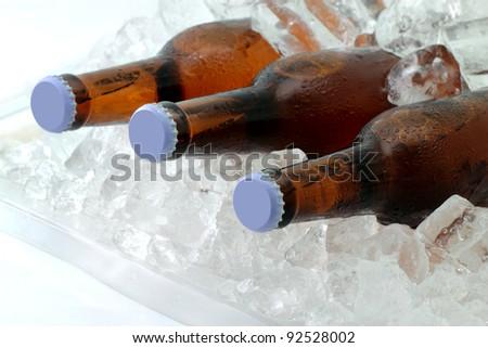 Three beer bottles on ice - stock photo