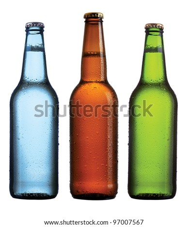 Three beer bottles on isolated background