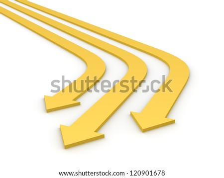 Three beige arrows. 3d rendering.