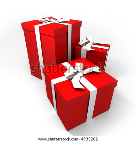 three Big red gift boxes with a white ribbons on a neutral background