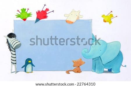 three birds, an elephant, a zebra, a giraffe, a cat and a little penguin  surrounding a blue board