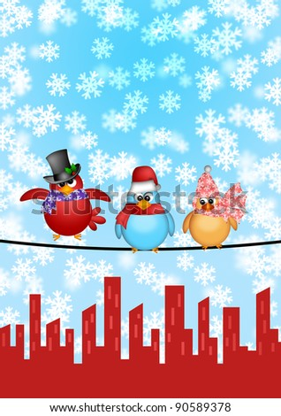 Three Birds on a Wire with Cityscape and Snowflakes Falling Christmas Scene Illustration