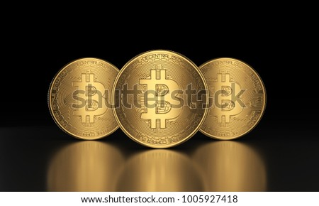 Three Bitcoin front view