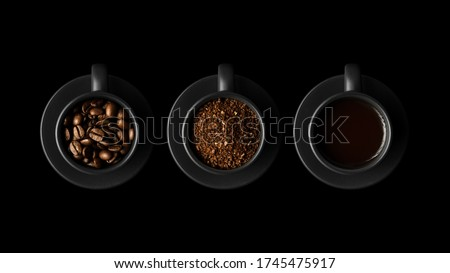 Three black cups with coffee and saucers on black background. One with coffee beans, the second with ground coffee, the third with black coffee, espresso.