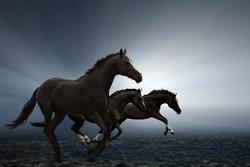 Three black horses running on field, bright light shines through fog