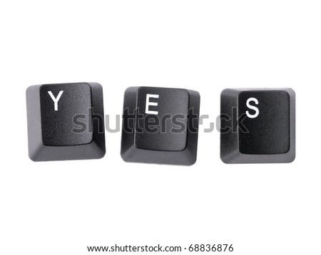 Three black keyboard keys forming YES word over white background