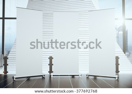 Three blank banners in a modern interior, mock up #377692768