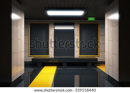 Foto mural Three blank black billboards in subway with yellow lines 3D Render