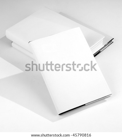 Three Blank book cover white - stock photo