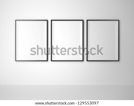 three blank frame on white wall