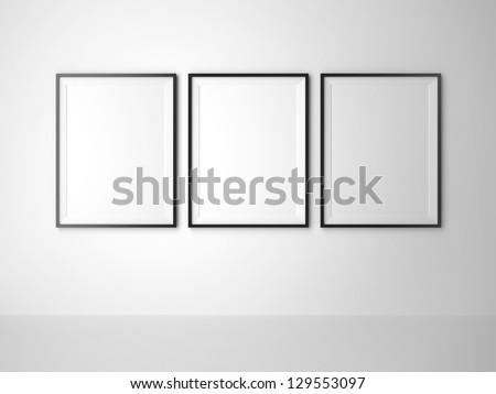 three blank frame on white wall
