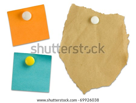 Three blank note papers isolated on white