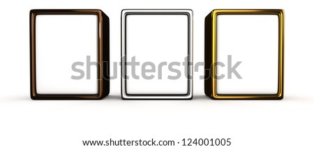 Three blank panels in metal frame on the white background