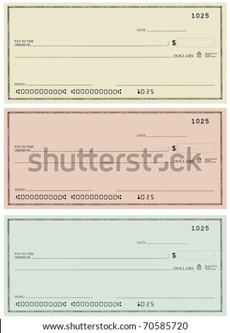 Three blank personal checks with no name and false account numbers in three different colors.