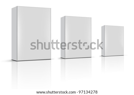 three blank product boxes