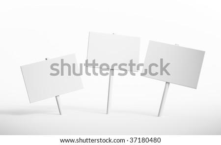 Three blank signs