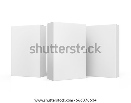 three blank tilt white paper boxes 3d rendering for design use, one right tilt, isolated white background, side view stock photo