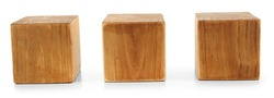 Three blank wooden cubes isolated on white