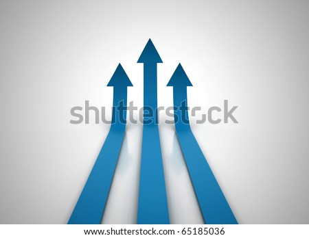 Three blue arrows going up - success concept illustration.