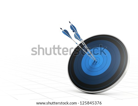 Three blue arrows hitting the center of a blue target or dart, white background with perspective, concept of performance or goal
