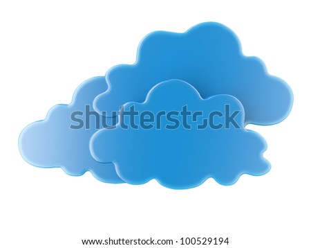 Three blue 3D cloud icons