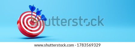 Three Blue Darts Hitting a Red Target on the Center on Blue Background with Copy Space 3D Illustration Stock photo ©