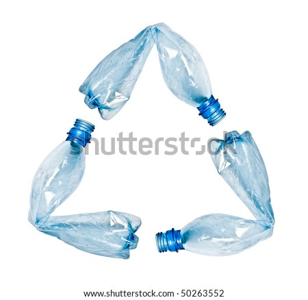 three blue plastic water bottles bent and put together to make up recycle symbol. Objects isolated on white wit, no shadow