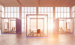 Three blue sea containers with offices inside. Panoramic window at the background. Front view. Filter, toned. Concept of a new start. 3D rendering