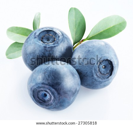 Three blueberries with leaves on white background