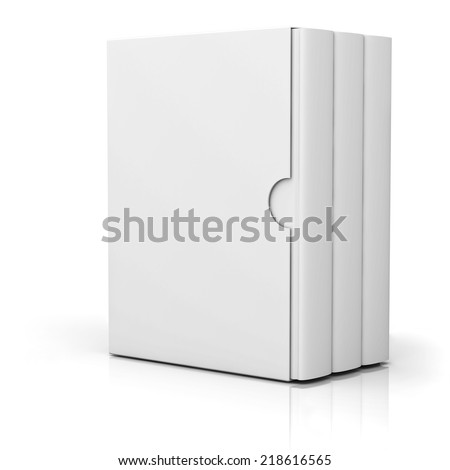 Three books with blank box cover standing isolated on white background with reflection