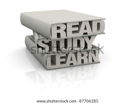 three books with the words: read, study, learn instead of pages (render 3d)