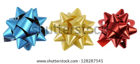 three bow with different colors, isolated on white