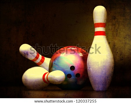 Three bowling pins and a bowling ball.