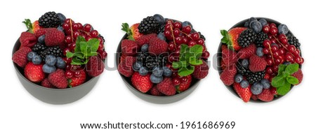 Three 3 bowls of ripe sweet different berries isolted on white. Harvest Concept. Fresh berries. Stock photo ©