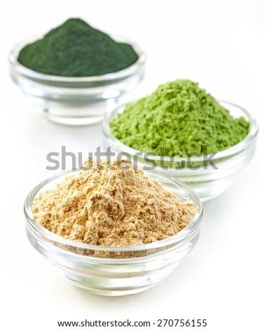three bowls of various superfood powders Photo stock ©