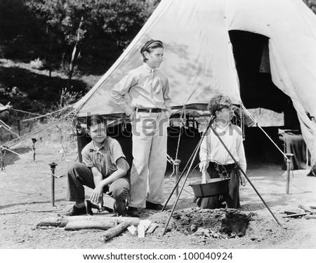 Three boys camping