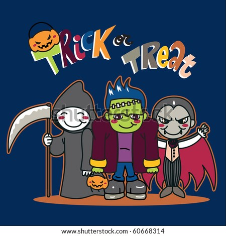 Three boys with costumes going for Trick or treat. Raster version of vector illustration ID: 55925248