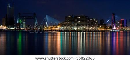 Three bridges of Rotterdam. Night view from the river Maas