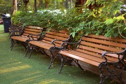 Three brown backrest chairs in a green natural garden. Sit comfortably in soft sunlight
