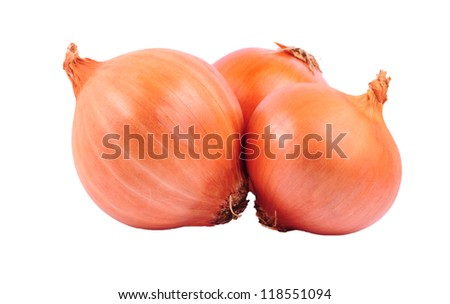 Three bulbs of brown onion isolated on white background