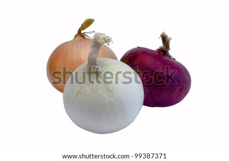 three bulbs of fresh colorful onions - stock photo