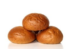 Three buns isolated on white
