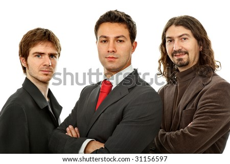 three business men isolated on white background