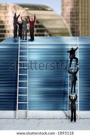 three business people climbing the corporate ladder, montage