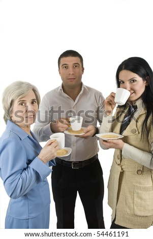 Three business people have a coffee break together - stock photo
