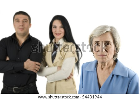 Three business people on white background