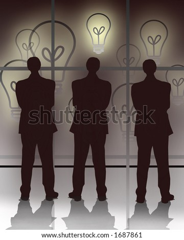 Three businessmen looking at the screen showing bulbs representing ideas.Concept: Decision making