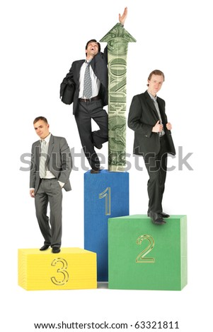 three businessmen on wood toy blocks victory podium with dollar arrow collage