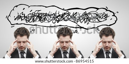 Three businessmen with confusing tangle of thoughts. Thinking men. Conceptual image of a open minded men. On a gray background